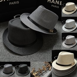 $enCountryForm.capitalKeyWord Canada - Upgrade Quality Vogue Men Women Straw Hats Cap Soft Fedora Panama Metal Anchor Leather Belt Hats Outdoor Stiny Brim Caps Spring Summer Beach