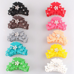 Crystal Plastic Hair Clip Australia - 2018 New Women Plastic Hairpins Candy Color Hair Clip rhinestone Crab Hair Claws Girl crystal Hair Accessories Hairclip 6pcs lot SYHC59
