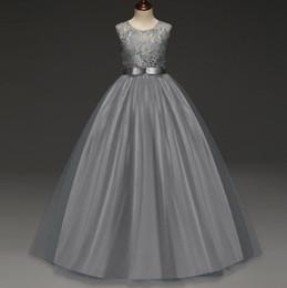 cc61872f535 Lace Top Flower Girl Dress Jewel Neck Floor Length Belt A line Big Girl  Dresses Kids Formal Wear for Prom Party Birthday