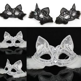 Discount sexy black halloween dresses - Fox Lace Feather Sexy Mask Half Face Eye Mask Halloween Masquerade Mask Party Dance Xmas Party Lady Fancy Dress
