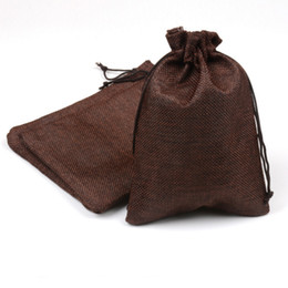 Coffee paCkages online shopping - Undecided Unside Rope Pulling Linen Bundle Pocket Coffee Color Drawstring Bags Package Pouches Wedding Ceremony Gift rc gg