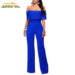 Adogirl 2017 Autumn Women Sexy Ruffles Lace Off Shoulder Party Jumpsuit Black White Blue Slash Neck Wide Legs Jumpsuit Rompers