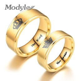 81945b5b6d Modyle 2018 New Gold Color King And Queen Stainless Steel Crown Couple Rings  For Couples Love Promise Rings For Woman