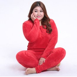adb45a042dbd 2018 New Winter Women's Fleece Thick Warm Cotton Thermal Underwear Sets  Large Size Slim Long Johns Plus Size XL-6XL