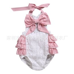 6f517880e96 Summer Cute Hollow Lace Rompers Big Bow Ruffles Newborn Baby Girls  Sleeveless Backless Halter Romper Jumpsuit Cotton Sunsuit Outfit Bloomer
