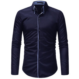 Double Shirt Designs Australia - Long Sleeve Shirt Brand Casual Shirt Men Double Collar Design Long Sleeve Slim Shirts Men's Social Shirts Classic Solid Color blouse