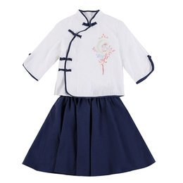 $enCountryForm.capitalKeyWord UK - Summer Vintage Baby Girls 1930s Campus Wear Chinese Style Dance Zither Performance Clothes Child Cosplay Costume Hanfu Clothing