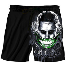 Discount 3d swimwear - Men Beach Shorts 2018 Homme Print 3D Anime Big Mouth Joker Bermuda Swimwear Quick Dry Boardshort Sea Shorts Maillot De B