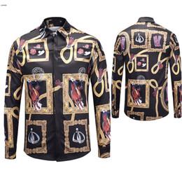 Leisure Shirt Free Shipping NZ - Free shipping fashion Brand men's shirt New medusa Leisure Mens 3D Long sleeve shirt Medusa Gold Floral Print Men Luxury Shirts M-XXL