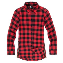 c22afb166fcf 2018 Autumn High Street Long Sleeve Plaid Shirt Men Brand Clothing Fashion  Side Zipper Camisa Masculina Mens Shirts Dropshipping