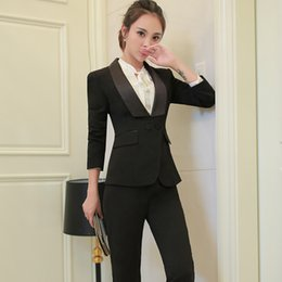 Work Suit For Women Australia - New Shawl Collar Two Piece Ladies Formal Pant Suit For Wedding Office Uniform Designs Women Business Suits Blazer For Work