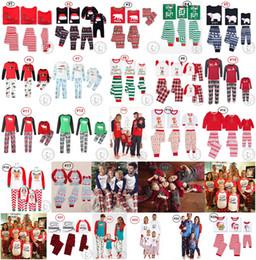 Father Daughter Pajamas NZ - Family matching Christmas pajamas set 25 Designs Red Letters Reindeer Nightclothes Pyjamas Sleepwear for Men women Child 2018 DHL Wholesale