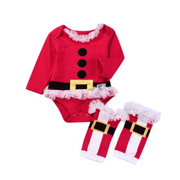 $enCountryForm.capitalKeyWord UK - Santa Christmas Romper Baby Girls Infant Santa Claus Jumpsuits with Leggings Socks 2018 Autumn Fashion Boutique Xmas Kids Rompers Clothes