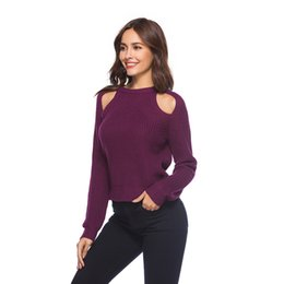 6cf9c1e4af Kenancy Round Collar Sexy Hollow Out Women Knit Sweaters Long Sleeves Off  Shoulder Winter Autumn Fashion Jumper Pullover Tops