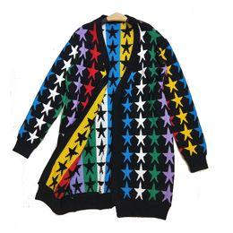 85e6d048fc8f79 2018 Winter New Pattern Seven Colored Five Corners Stars Easy Long Fund  Sweater Woman Stars Cardigan Loose Coat