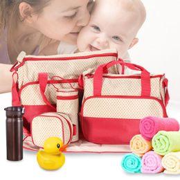 $enCountryForm.capitalKeyWord NZ - 5pcs set Women Travel Bag Waterproof Baby Diaper Bag Suits Travel Totes Handbag for Mommy Baby Nappy Organizer Packing Cubes