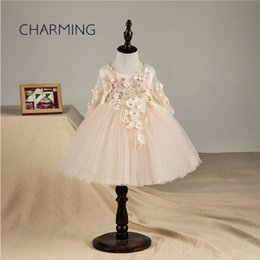 wedding dresses for dancing NZ - Wedding dress Long sleeve Champagne color Suitable for school season flower girls dresses Graduation Show Dance Dresses