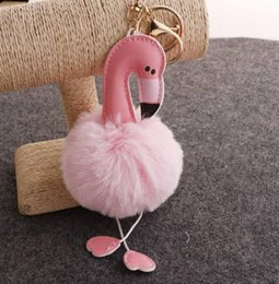 Artificial Chains Wholesalers Australia - Flamingo Keychain Fluffy Artificial Rabbit Fur Ball Cartoon Handbag Key Chain Car Bag Key Ring Pendant Party Favor
