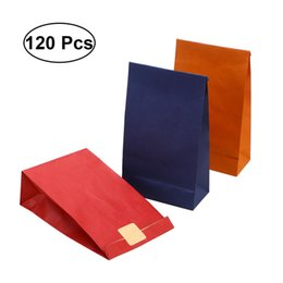 Paper Gift Bags Handles Christmas UK - 120PCS Wrapping Kraft Paper Colorful No Handle Favors Bags Present Bags Gift for Wedding Christmas Shopping Birthday Party
