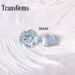 $enCountryForm.capitalKeyWord Australia - TransGems 9mm 3Carat Slight Blue Color Certified Man made Diamond Loose moissanite Bead Test Positive As Real Diamond 1pcs S923