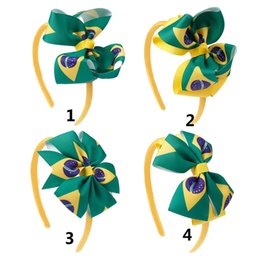 brazil flags NZ - DIY Brazil Flag Layered Bows Hair Bands Green Pinwheel Grosgrain Ribbon Headband For Child Girls Hair Hoop Hair Accessories