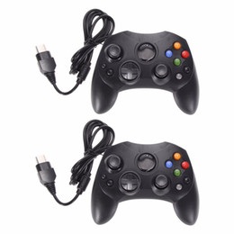 China 2Pcs Lot Fashion Black Wired Gaming Controller Game Pad Joystick for Microsoft XBOX S System Type 2 Gamepad With 1.47m Cable suppliers
