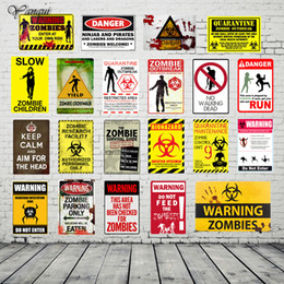 Wholesale custom printed signs for sale – custom 20x30CM Personalized Custom Home Bar Pub Cafe Metal Signs Warning Zombies Print Poster Vintage Decor Wall Plaque YQZ079