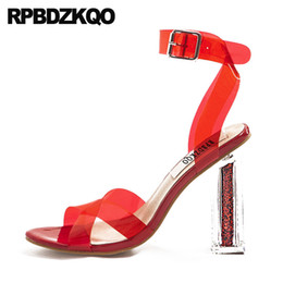 Wholesale Pvc Fetish Jelly Block Ankle Strap Red Designer Sandals Women Luxury Shoes High Heels Glass Pumps Perspex Plastic Sexy