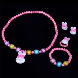 $enCountryForm.capitalKeyWord Australia - New children's cute bunny pearl necklace set girl four-piece necklace bracelet jewelry