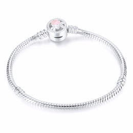 $enCountryForm.capitalKeyWord Australia - DIY Pulseira Beads Charms Fits Pando Bracelet 17-23CM 1PCs silver flower 3MM Snake free shipping on 925 Chain Fits European