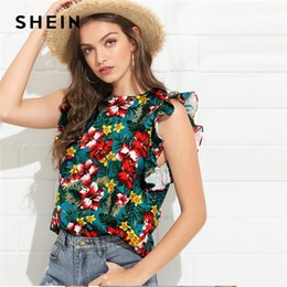 4f0fc7b4b9 20187 SHEIN Multicolor Vacation Boho Bohemian Beach Floral Print Ruffle  Armhole Tropical Blouse Summer Women Weekend Casual Shirt Top