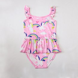 $enCountryForm.capitalKeyWord Canada - DHl free 6 styles top quality 2018 summer kids unicorn swimwear cartoon Bikinis girls unicorn Swimsuit