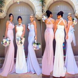 7c758a26b Mermaid Long Bridesmaid Dresses with Tulle Sashes Convertible Neckline  Simple Floor Length Party Dresses for Wedding Guest Cheap Elegant