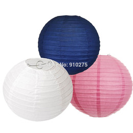 wholesale christening decorations UK - 18-Pack Mixed Navy Blue Pink White Paper Lantern Lamp Shades for Wedding Christening Baby Shower Party Garland Decoration Favor