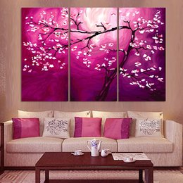 pink decorative paintings Australia - 3 Pcs Pink Cherry Money Tree Modern Style Abstract Canvas Oil Painting Landscape Poster Pictures Decorative Painting Wall Art No Frame