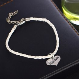 $enCountryForm.capitalKeyWord NZ - 12PC Lot Family Love Middle Sister Sis Bracelets Crystal Heart Leather Rope Chain Bangle For Friends Women Girls Jewelry Gifts