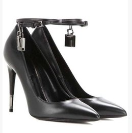 a2e46540df9 Free Shipping 2017 Ladies sheepskin leather 11CM high heel Dress Shoes Metal  silver Lock key Pointed Toe black size 35-43