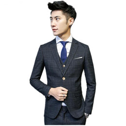 double breasted blue jacket mens UK - (Jacket+Vest+Pants)mens slim suits fit men's Wedding suit business single breasted men's casual Striped suits Men tailor-made suit