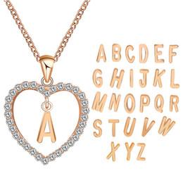000fcb455 12 pcs Rose Gold Cor Coração Letras Do Alfabeto Inicial Strass Amor  Declaração Do Coração Colar Colares Pingentes Casais Jóias