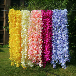 Decorative fake flowers vine online shopping - Fake Cross Cherry Flower Vine Simulation Lilac Rattan for Wedding Home Showcase Decorative Artificial Flower Vines