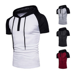 Wholesale good white t shirts online – design Raglan Sleeves Hooded Short Sleeved T Shirt Good Quality Top Tees Shirts Pullover Shirts For Men Hot Sale Summer New Brands Cotton Short