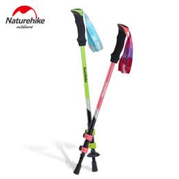 Red Handle Grips Australia - NatureHike 1 pcs Trekking Poles Ultra-light External Lock EVA Handle 3-Section Adjustable Canes Walking Sticks DS15Z001-F