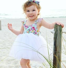 $enCountryForm.capitalKeyWord NZ - Foreign trade new dress summer Female baby children's printed stitching mesh tutu Cotton Flowers Lace Suitable for 1-4 years old