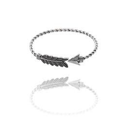 $enCountryForm.capitalKeyWord UK - Vintage Bronze Silver Bracelets For Women Bangles Leaf Bracelet Arrow Love Twist Bracelet Femme Adjustable Lover Xmas Gift