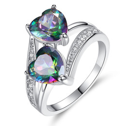 $enCountryForm.capitalKeyWord NZ - 18K White Gold Plated Double Multicolor Hearts Clear Crystals Cluster 6# 7# 8# 9# Finger Ring Fashion Womens Jewelry Bijoux for Party