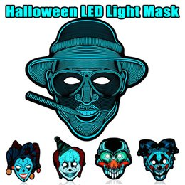 Wholesale Cool Face Full Sound Control Voice LED Light Mask Glossy Cosplay Party Mask