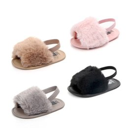 $enCountryForm.capitalKeyWord Canada - Hot Infant Newborn Baby Girl Cute Soft Hairy Summer Sandals Anti-slip Flip-flop Toddler Kids Shoes Prewalker Cute Slippers
