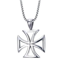 Wholesale Mens Necklace Stainless Steel Vintage Hollow Knights Templar Iron Cross Pendant Necklace for Men Biker Maltese Cross Jewelry