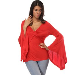 72447de78310a Autumn New style T-shirt blouse Plus Size Fashion Loose Horn sleeve blouses  T-Shirts Europe and America V-Neck Sexy Top T-shirt S M L XL