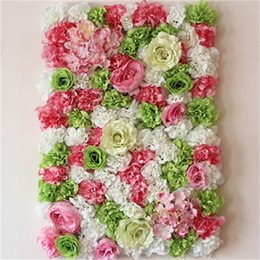 Fake white hydrangea Flowers online shopping - Simulation Red Rose Artificial Hydrangea Fake Flower Platoon Wedding Ceremony Decorated Back Ground Wall Festive Party Supplies mt bb